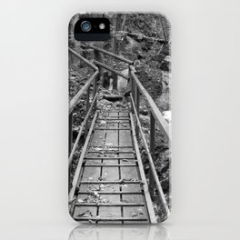 wooden bridge Fischbach, black and white photography iPhone Case
