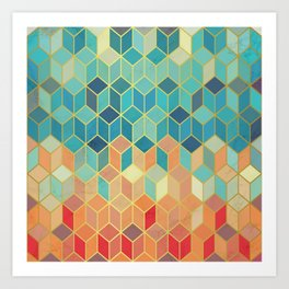 Colorful Squares with Gold - Friendly Colors and Marble Texture Art Print
