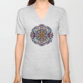 Purple Lotus Mandala Unisex V-Neck