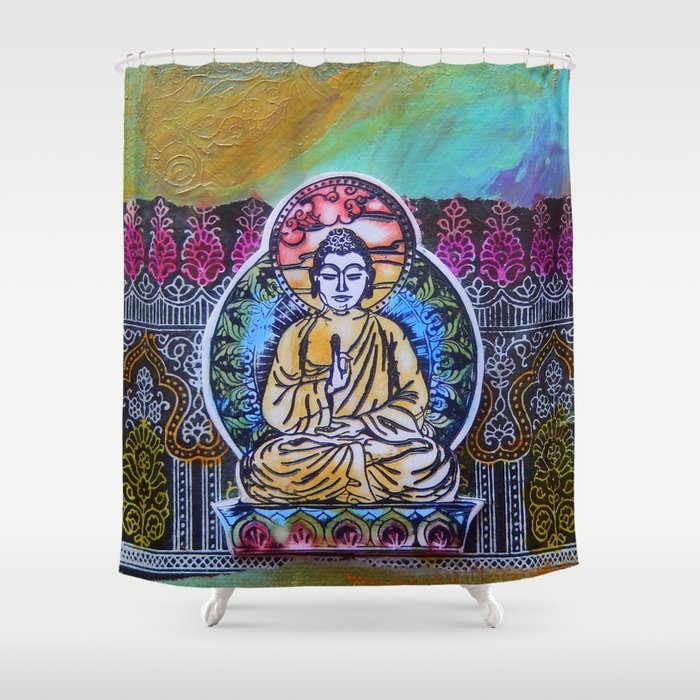 Buddha In The Garden Shower Curtain