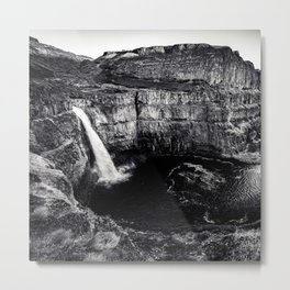 Hidden Waterfall Black and White Metal Print