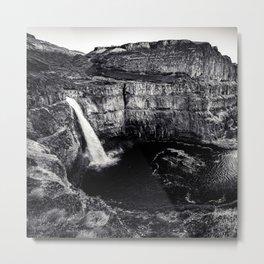 Hidden Waterfall Black and White Metal Print