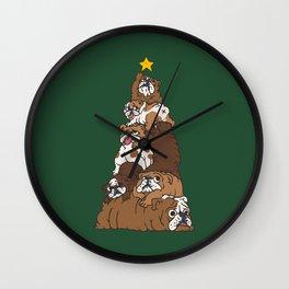 Christmas Tree English Bulldog Wall Clock