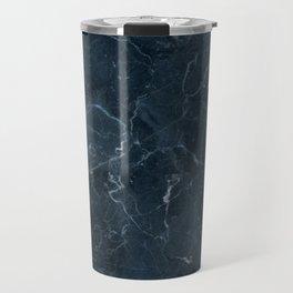 Dark blue marble texture Travel Mug