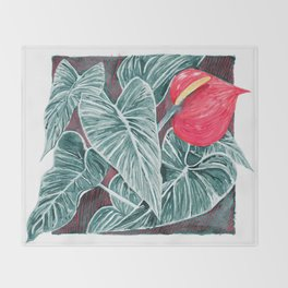 Pop Anthurium Leafs and Flowers Throw Blanket