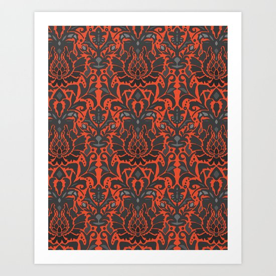 Aya damask orange Art Print