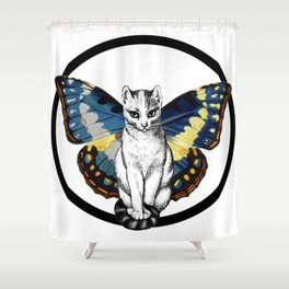 Butterfly Cat Shower Curtain