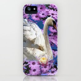 WHITE  SWAN LILAC FLOWERS WATER ART iPhone Case