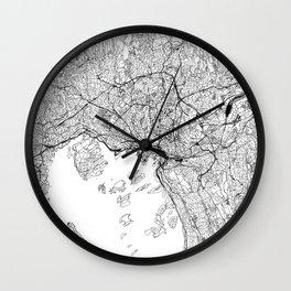 Oslo White Map Wall Clock