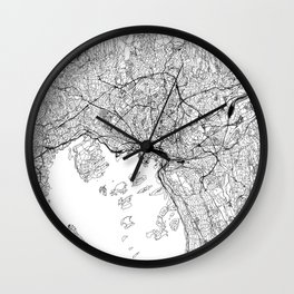 Oslo White Map Wall Clock