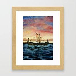 Drakkar, watercolor Framed Art Print