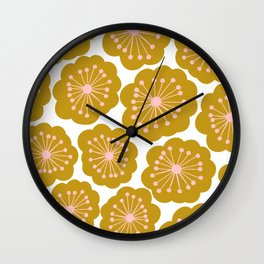 Mid Century Mod Flowers in Pink and Mustard Wall Clock