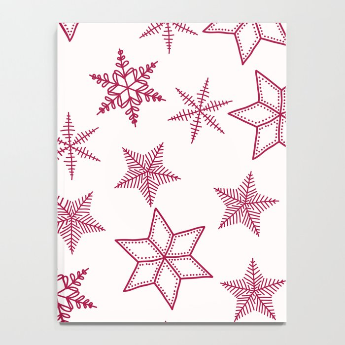 Red Snowflakes On White Background Notebook