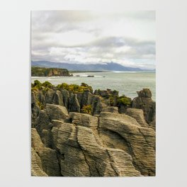 punakaiki pancake rocks with a sea view new zealand Poster