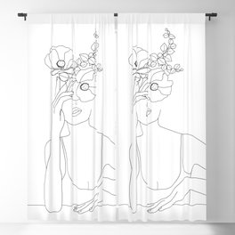 Minimal Line Art Woman with Flowers II Blackout Curtain