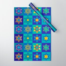 Hanukkah Holidays Elegant Star of David Pattern Wrapping Paper