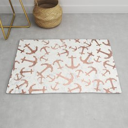 Modern faux rose gold anchors pattern white marble Rug