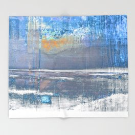 Blue Color Patches Throw Blanket