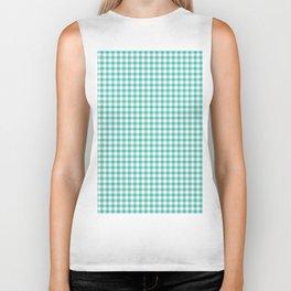 Modern green white checker picnic stripes pattern Biker Tank
