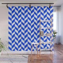Herringbone Texture (Blue & White) Wall Mural