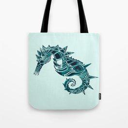 Blue Seahorse Drawing | Light background Color | Ocean Art Tote Bag