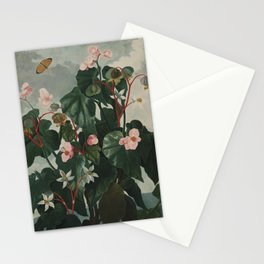 Temple of Flora : Pink Floral The Oblique-Leaved Begonias Stationery Cards