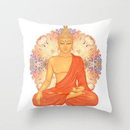 Sitting Buddha over ornate mandala round pattern Throw Pillow