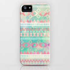 Girly Pink Turquoise Aztec Tied Dye Pastel Pattern   Instagram Effect Slim Case iPhone (5, 5s)