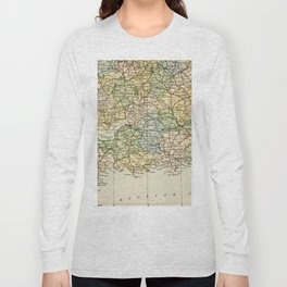 England and Wales Vintage Map Long Sleeve T-shirt