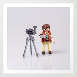 Photographer man. Playmobil Art Print