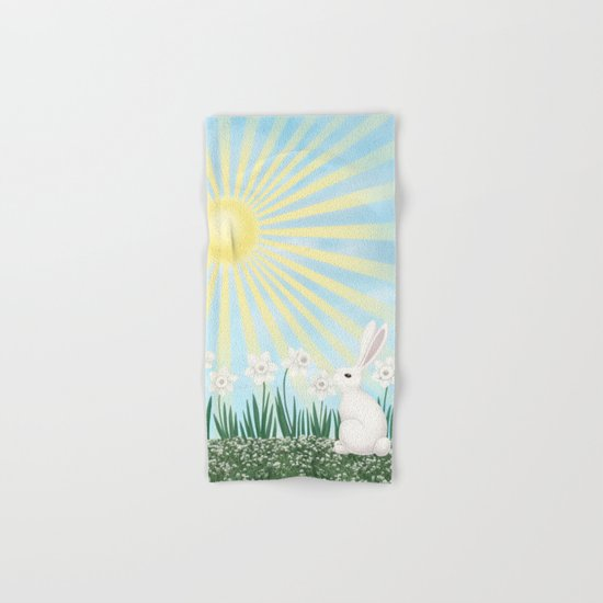 sunshine bunny with daffodils Hand & Bath Towel