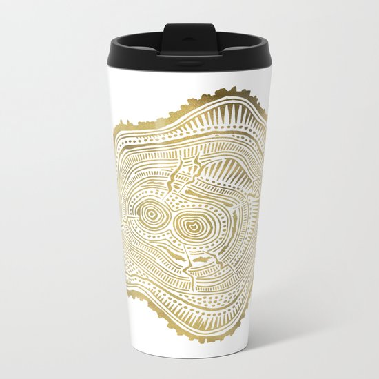 Peachleaf Willow – Gold Tree Rings Metal Travel Mug