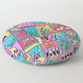 Inchie Doodle Design - Blue Red - Spring Floor Pillow