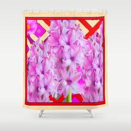 RED-CREAM PURPLISH-PINK ROSES & HYACINTHS Shower Curtain