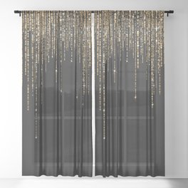 Luxury Chic Black Gold Sparkly Glitter Fringe Sheer Curtain