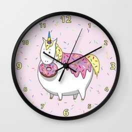 Cute Fat Unicorn Eating Pink Frosting Sprinkles Donut Wall Clock
