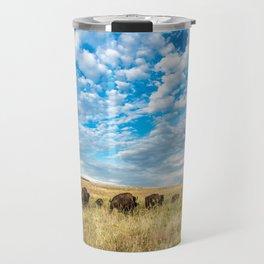 Grazing - Bison Graze Under Big Sky on Oklahoma Prairie Travel Mug