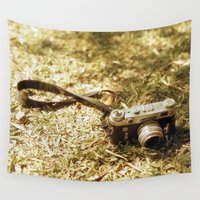 vintage camera Wall Tapestries featuring camera by inesmarinho