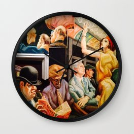Classical Masterpiece 'Boston - Girl on the Subway' by Thomas Hart Benton Wall Clock