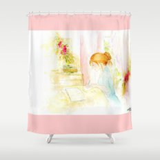 Girl studying Shower Curtain