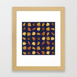 Leaf Lovers in Navy Framed Art Print