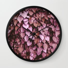 Heart-shaped Leaf Wall Valentine's Day Tropical Spring Blush Pink Pattern Wall Clock