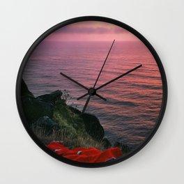 Ocean.Sunset.Sea Cliff.Red Blanket.Pink Sky.Oregon.Coast.Waves.Water Wall Clock