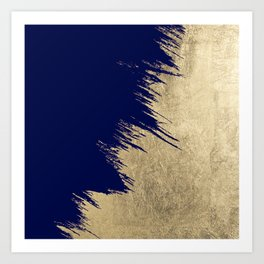 Navy blue abstract faux gold brushstrokes Art Print