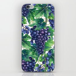 Watrercolor grapes iPhone Skin