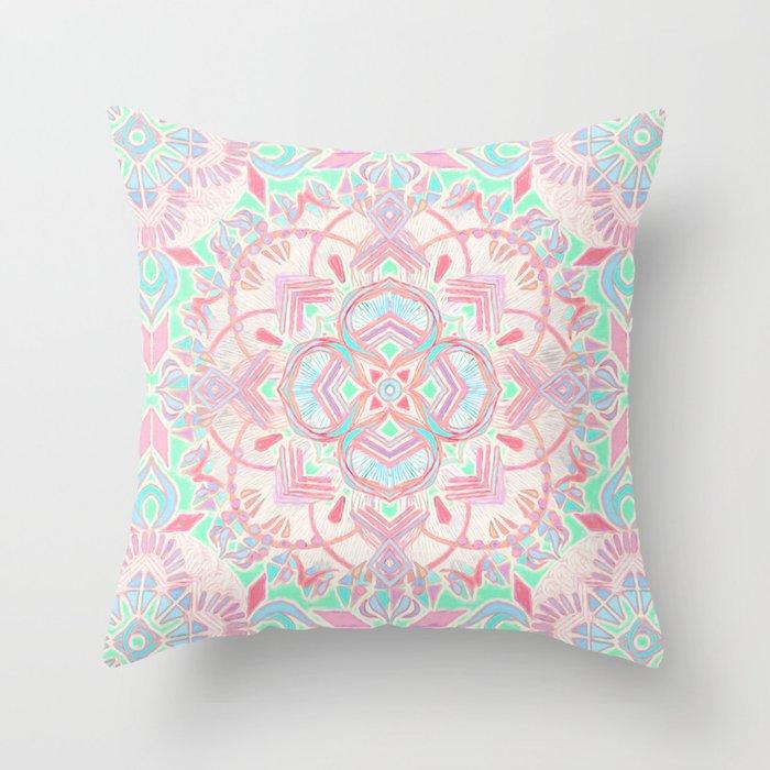 Mint and Blush Pink Painted Mandala Throw Pillow