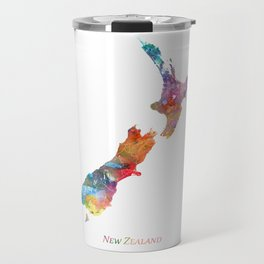 New Zealand Map Watercolor by Zouzounio Art Travel Mug
