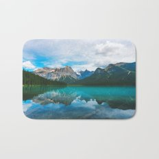 The Mountains and Blue Water Bath Mat