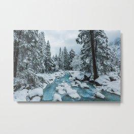 Blue Winter in Yosemite Metal Print