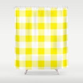 Yellow Gingham Pattern Shower Curtain